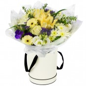 Eliza Hand Tied Arrangement displayed in a Tall Hat Box