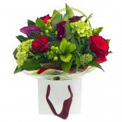 Roses in the Garden Hand Tied Bouquet Presented in a Gift Bag