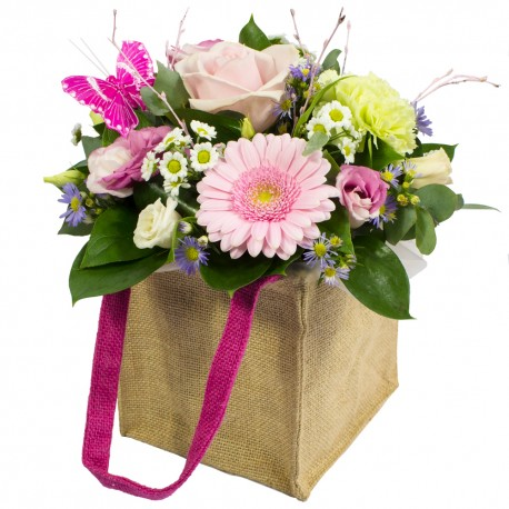 Hugs & Kisses Petite Hand Tied Bouquet in Hessian Gift Bag