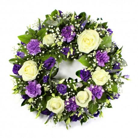 SYM-316 Classic Wreath in Purple & White