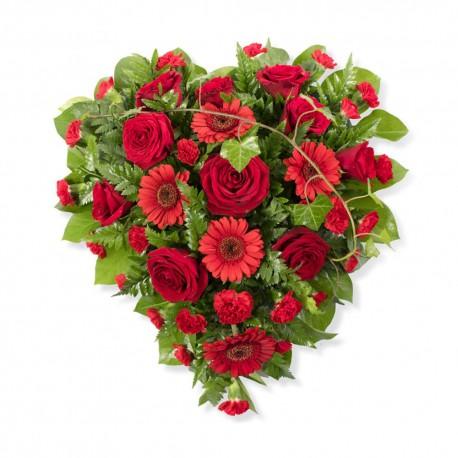 SYM-323 Full Heart of Elegant Red & Green Flowers