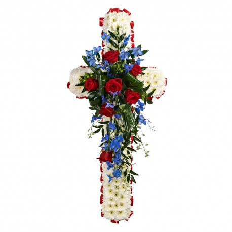 SYM-329 White Massed 120cm Cross with Red & Blue Spray
