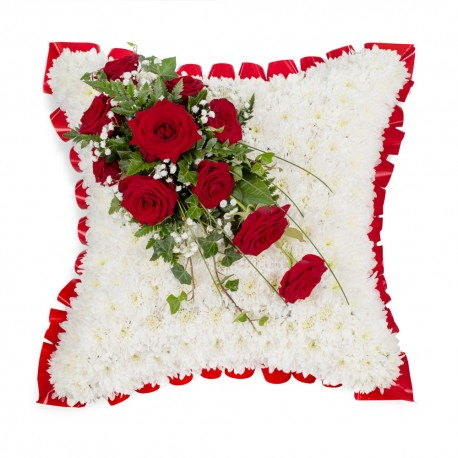 SYM-333 White Massed 43cm Cushion with Red Rose Spray