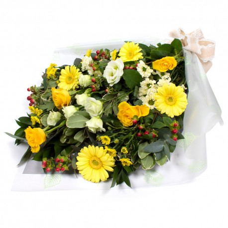 SYM-334 Funeral Flowers in Cellophane YELLOW