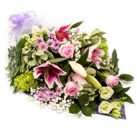 SYM-336 Funeral Flowers in Cellophane PINK, GREEN & WHITE