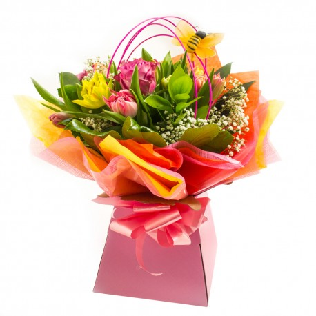 Colour Pop Hand Tied Bouquet presented in a Gift Box