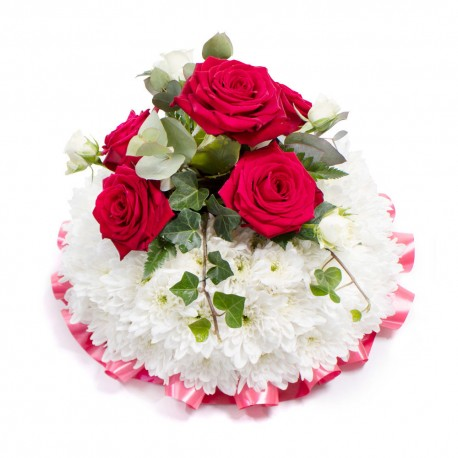 SYM-344 White MASSED Rose Posy with Red Rose Spray
