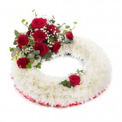 SYM-314 White Massed Wreath with Red Rose Spray