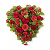 SYM-323 Full Heart of Elegant Red & Green Flowers