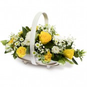 SYM-347 Yellow & White Basket Arrangement