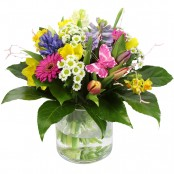 You're Wonderful! Hand Tied Bouquet in Glass Vase