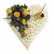 SYM-324 White Massed Heart with Yellow & Purple Spray