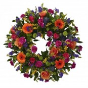 SYM-317 Classic Wreath with Mixed Flowers